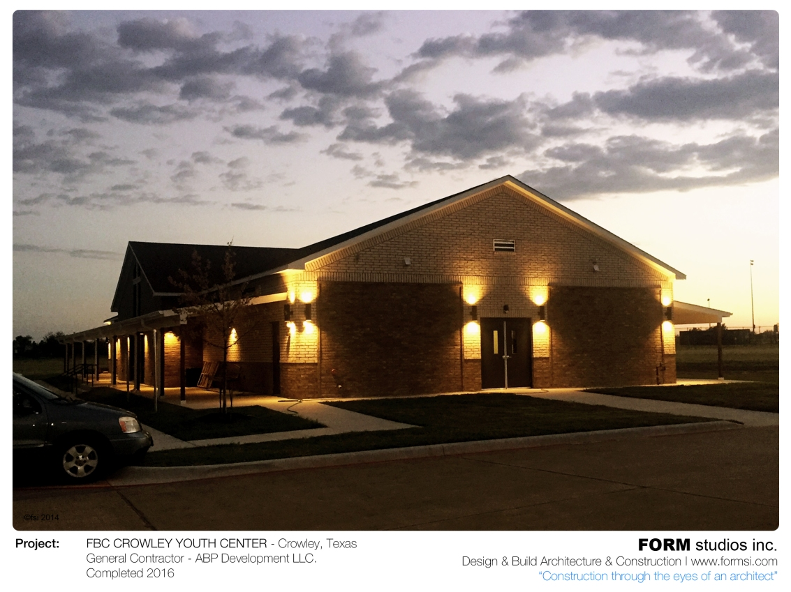 NIGHT SHOT OF FBC CROWLEY YOUTH WORSHIP CENTER